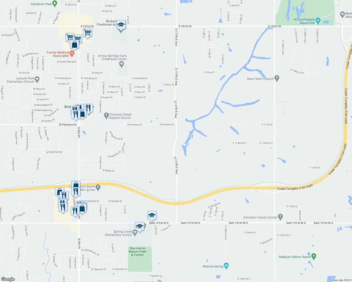 map of restaurants, bars, coffee shops, grocery stores, and more near 11301 South Lynn Lane Road in Broken Arrow