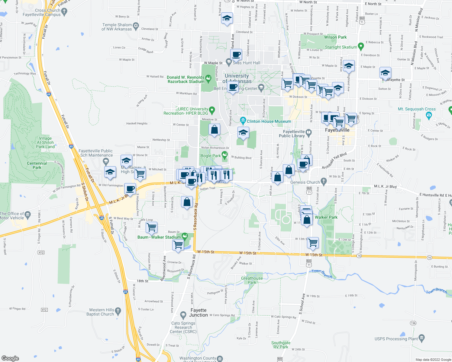 map of restaurants, bars, coffee shops, grocery stores, and more near 1135 Martin Luther King Junior Boulevard in Fayetteville