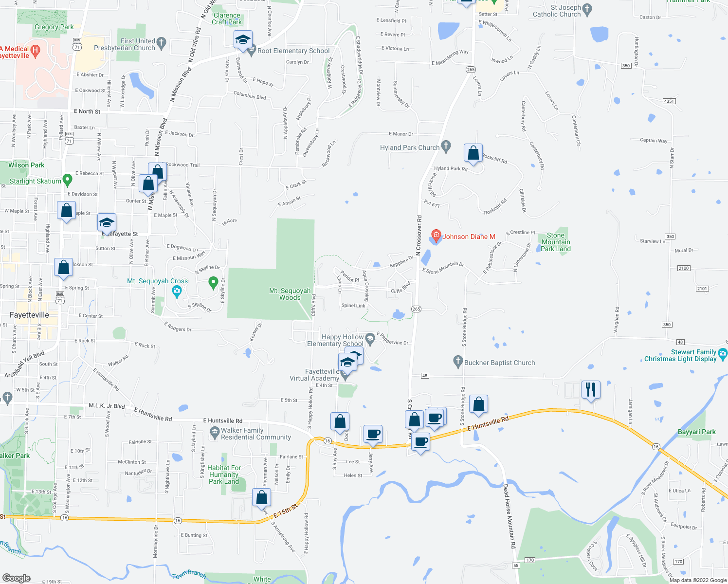 map of restaurants, bars, coffee shops, grocery stores, and more near Cliffs Boulevard in Fayetteville