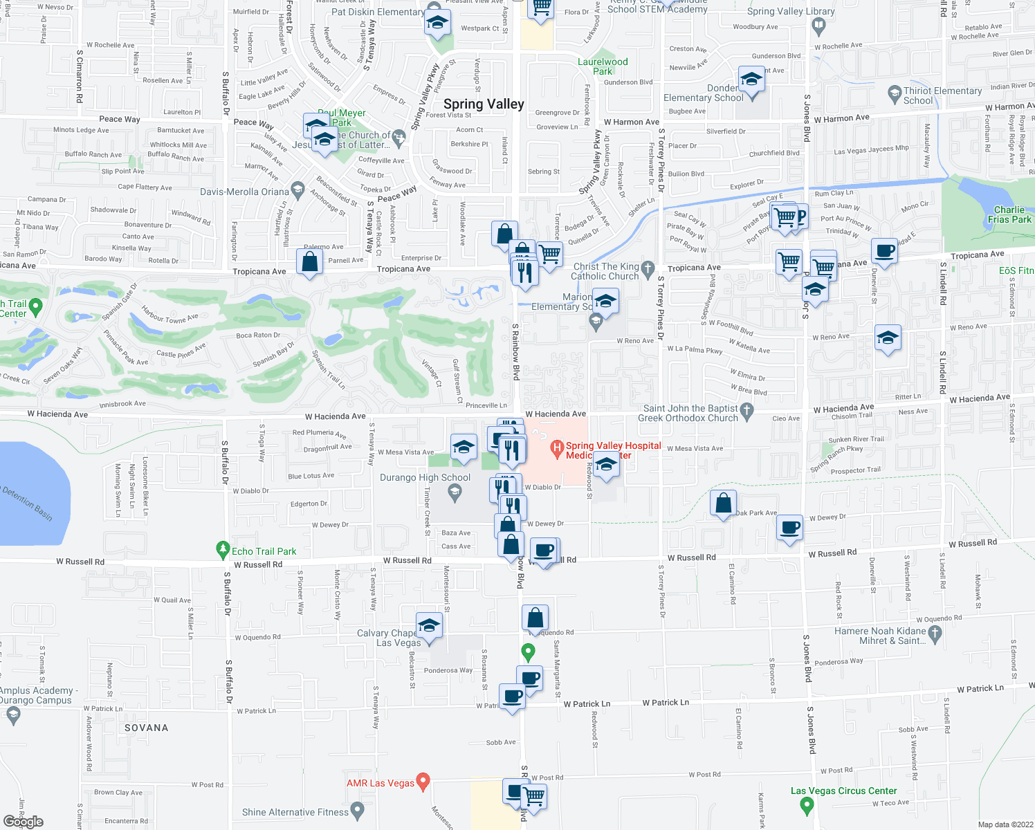 map of restaurants, bars, coffee shops, grocery stores, and more near S Rainbow Blvd & W Hacienda Ave in Spring Valley
