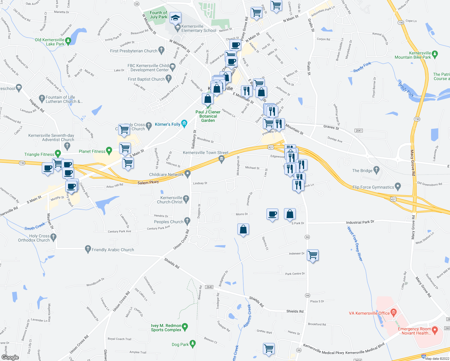 map of restaurants, bars, coffee shops, grocery stores, and more near 431-435 Lindsay Street in Kernersville
