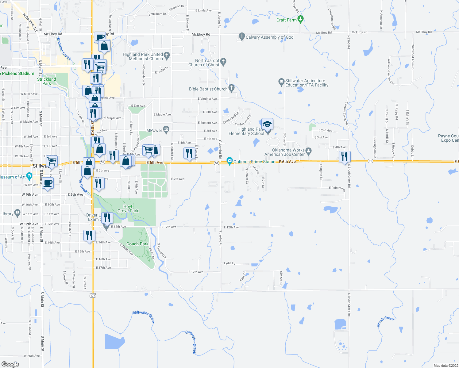 map of restaurants, bars, coffee shops, grocery stores, and more near 12-150 Pinewood Circle in Stillwater