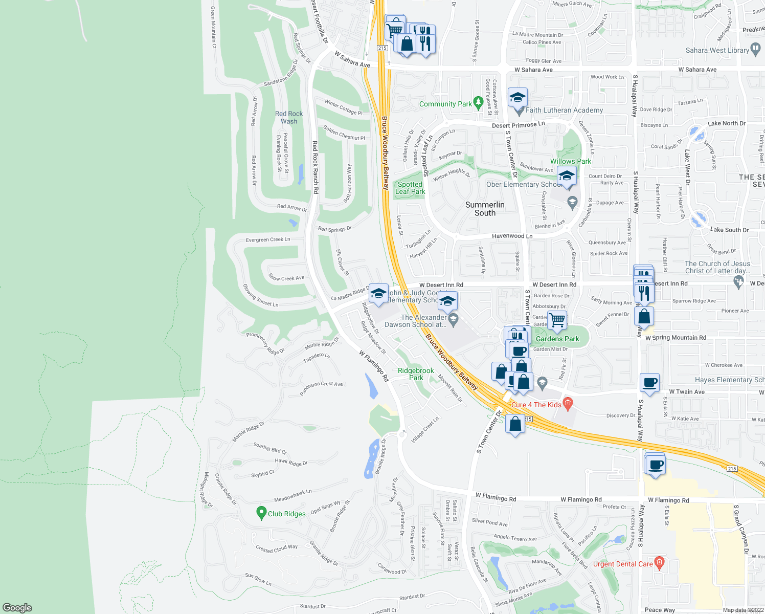 map of restaurants, bars, coffee shops, grocery stores, and more near 11102 Zarod Road in Las Vegas