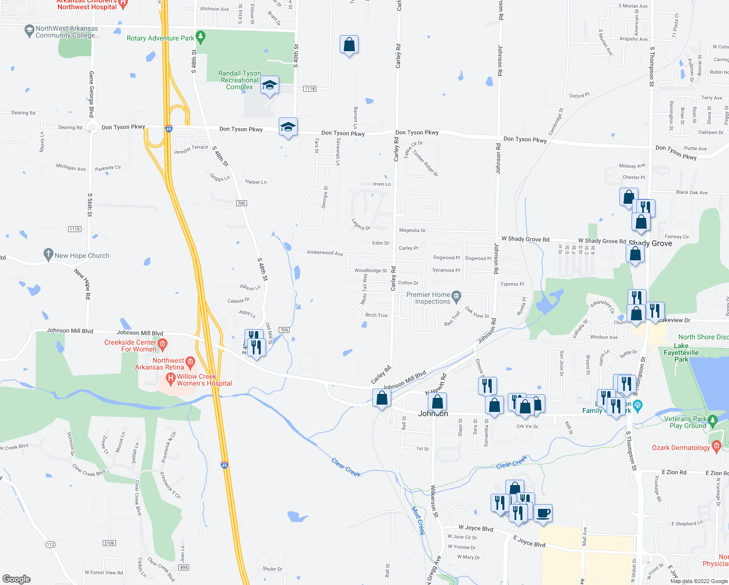 map of restaurants, bars, coffee shops, grocery stores, and more near Silver Bell Trce in Springdale