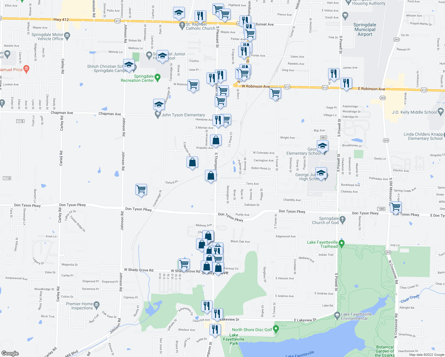 map of restaurants, bars, coffee shops, grocery stores, and more near 3291 South Thompson Street in Springdale