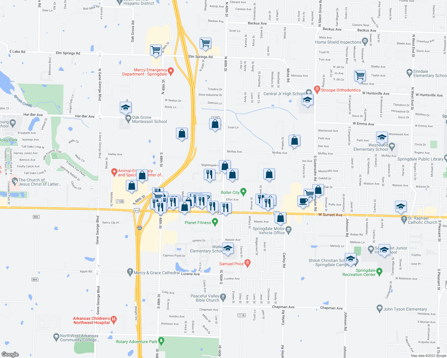 map of restaurants, bars, coffee shops, grocery stores, and more near 767 South 40th Street in Springdale