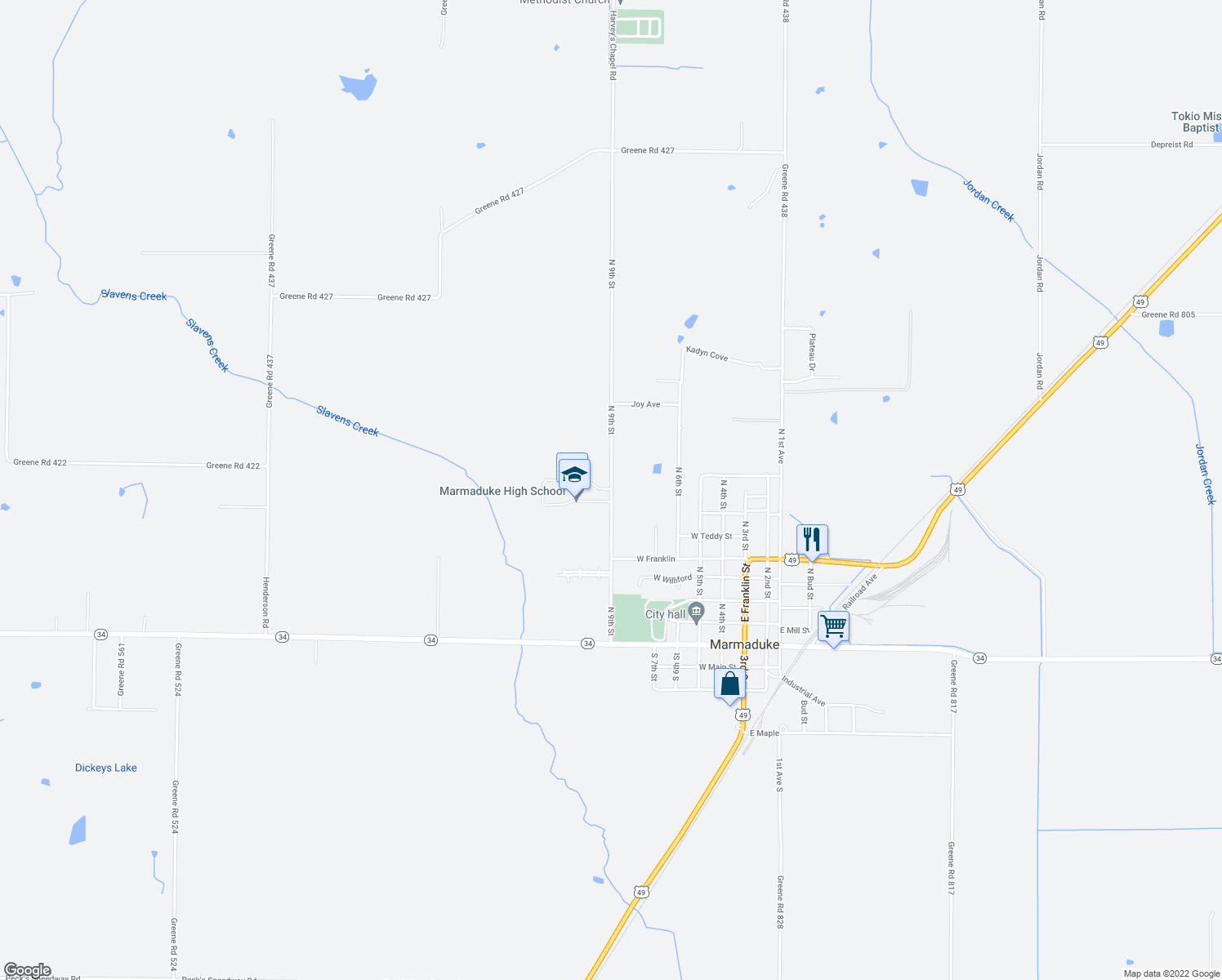 map of restaurants, bars, coffee shops, grocery stores, and more near 700-1002 Harvey's Chapel Road in Marmaduke