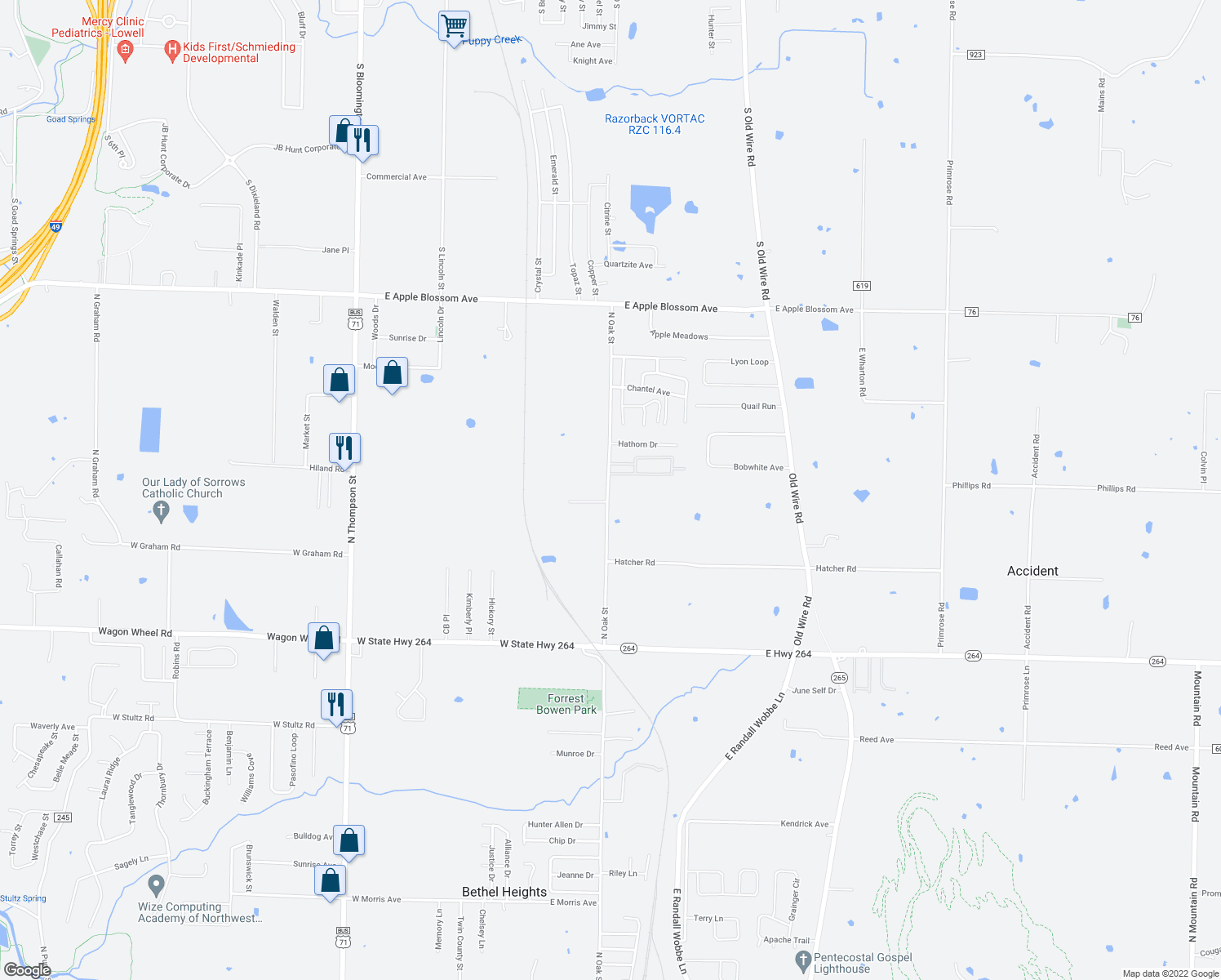 map of restaurants, bars, coffee shops, grocery stores, and more near 5225 North Oak Street in Bethel Heights