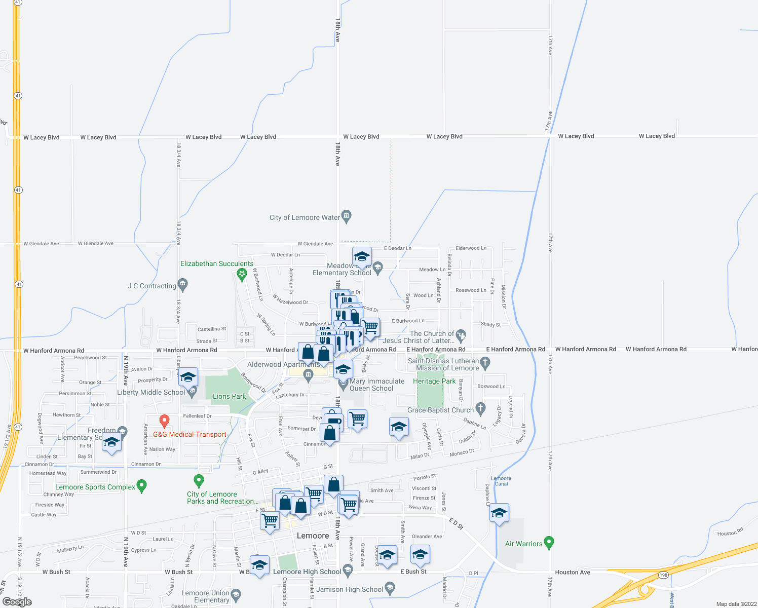 map of restaurants, bars, coffee shops, grocery stores, and more near 250 East Hazelwood Drive in Lemoore