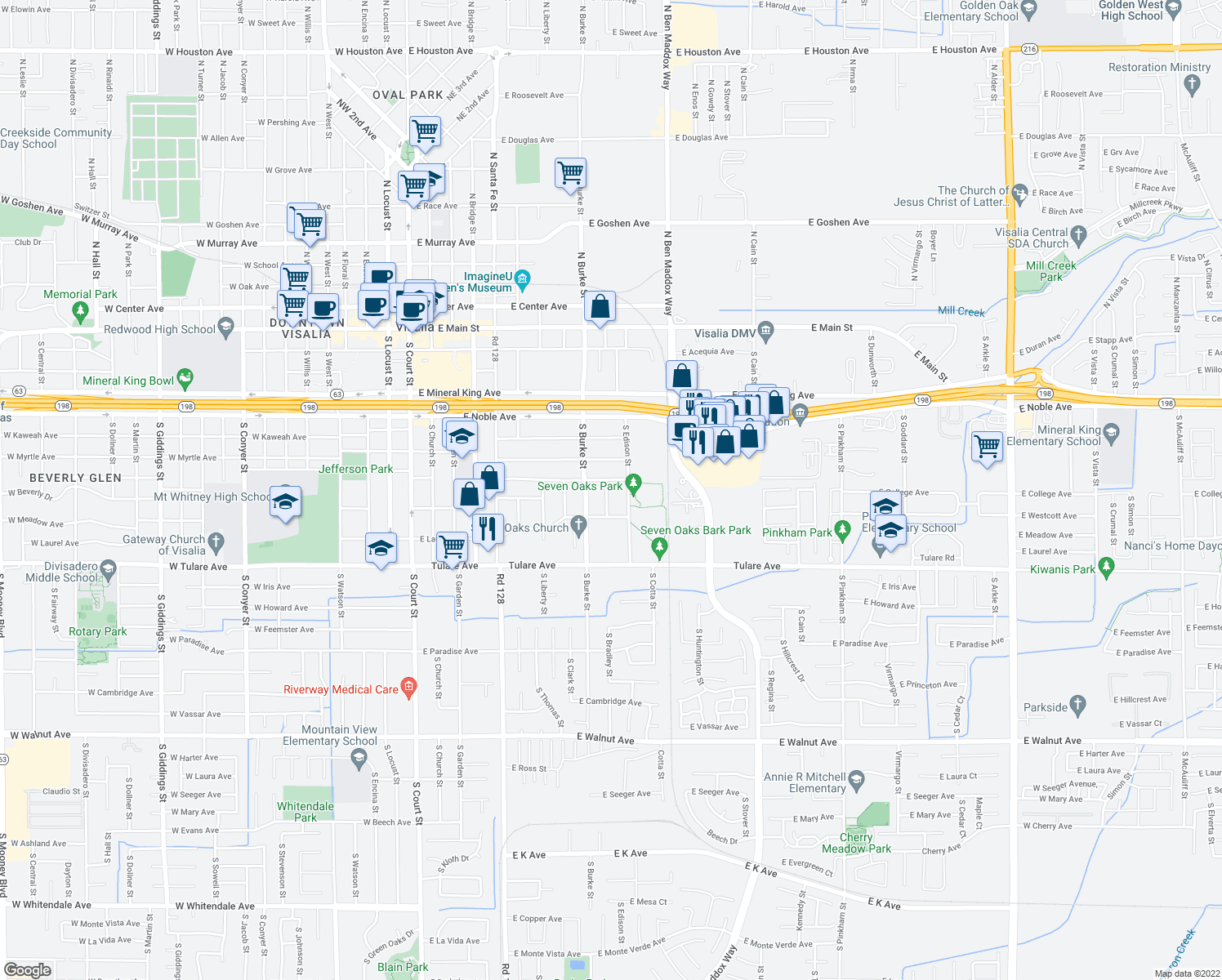 map of restaurants, bars, coffee shops, grocery stores, and more near 808 South Bradley Court in Visalia