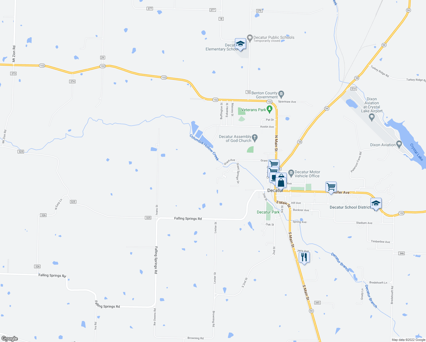 map of restaurants, bars, coffee shops, grocery stores, and more near Hidden Springs Drive in Decatur