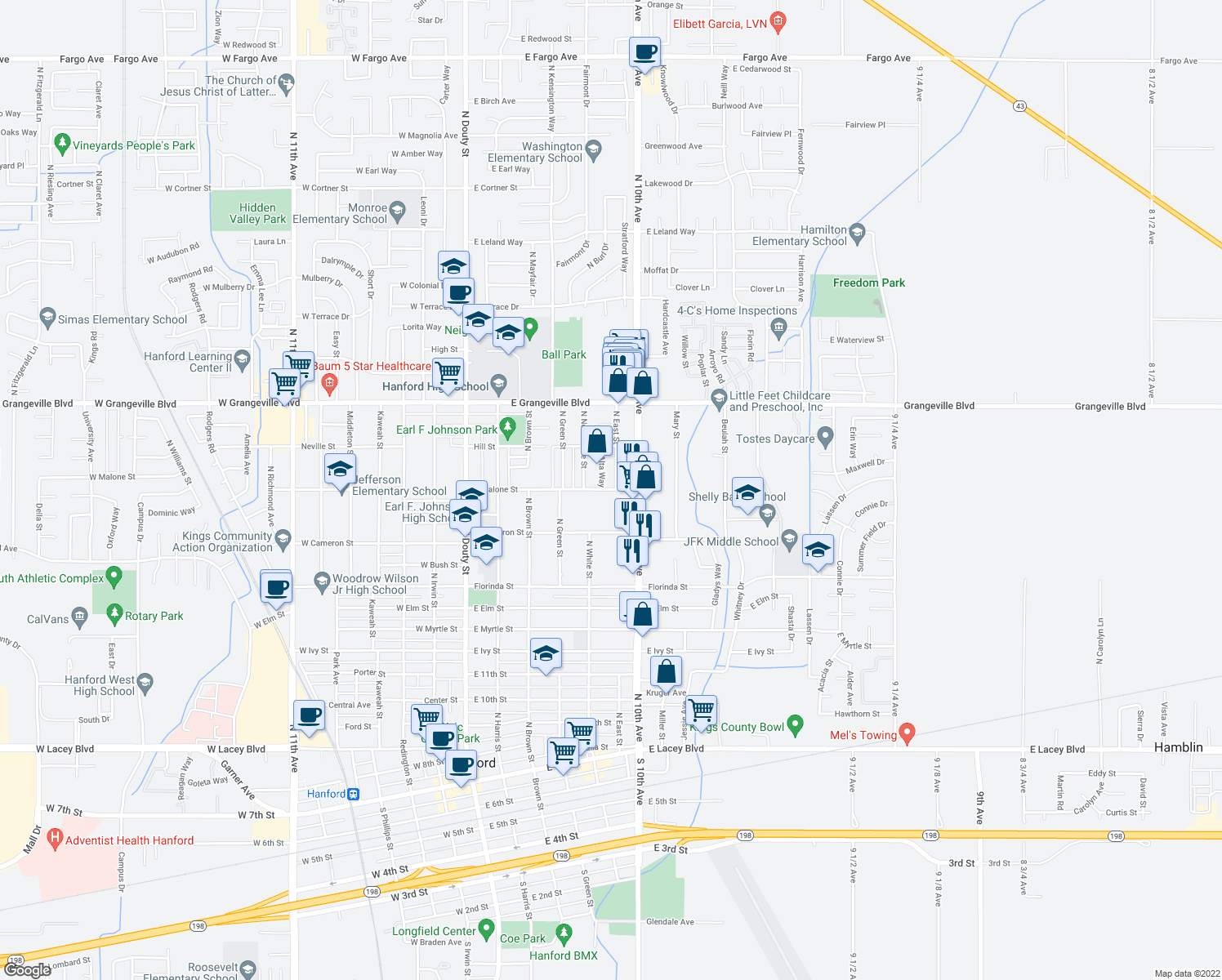 map of restaurants, bars, coffee shops, grocery stores, and more near 577 E Malone St in Hanford
