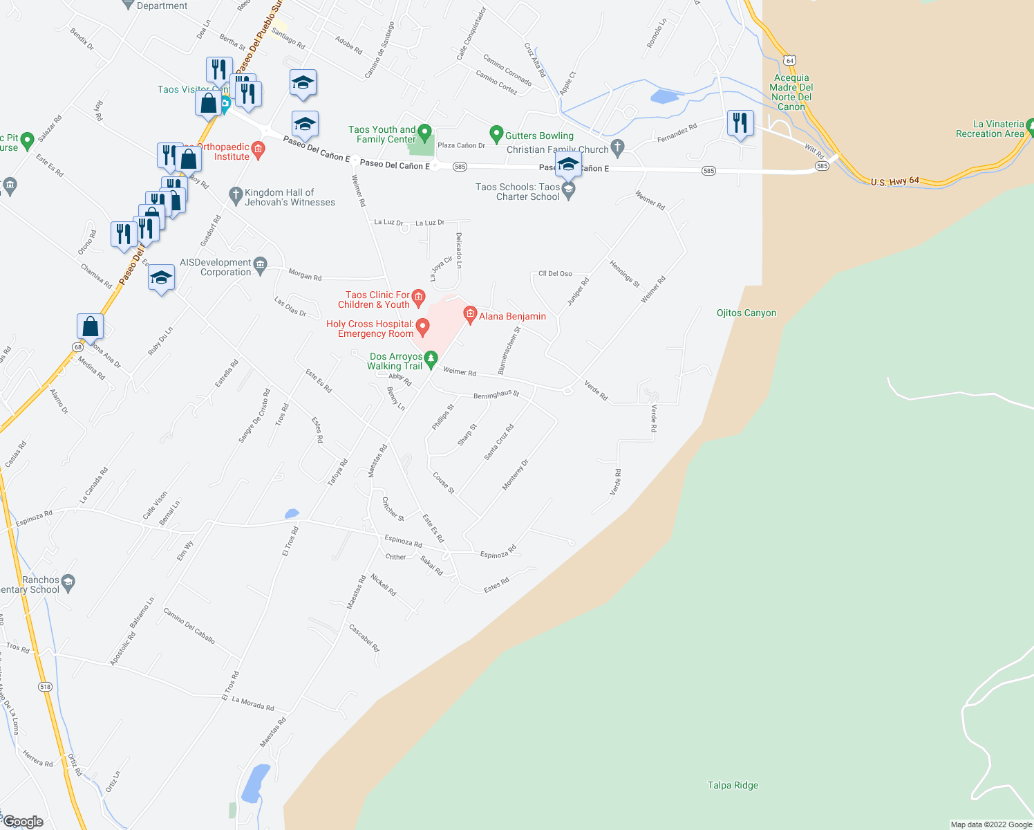 map of restaurants, bars, coffee shops, grocery stores, and more near 1431 Santa Cruz Road in Taos