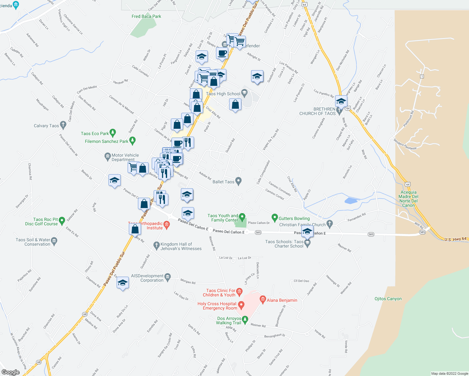 map of restaurants, bars, coffee shops, grocery stores, and more near 107 Adobe Lane in Taos