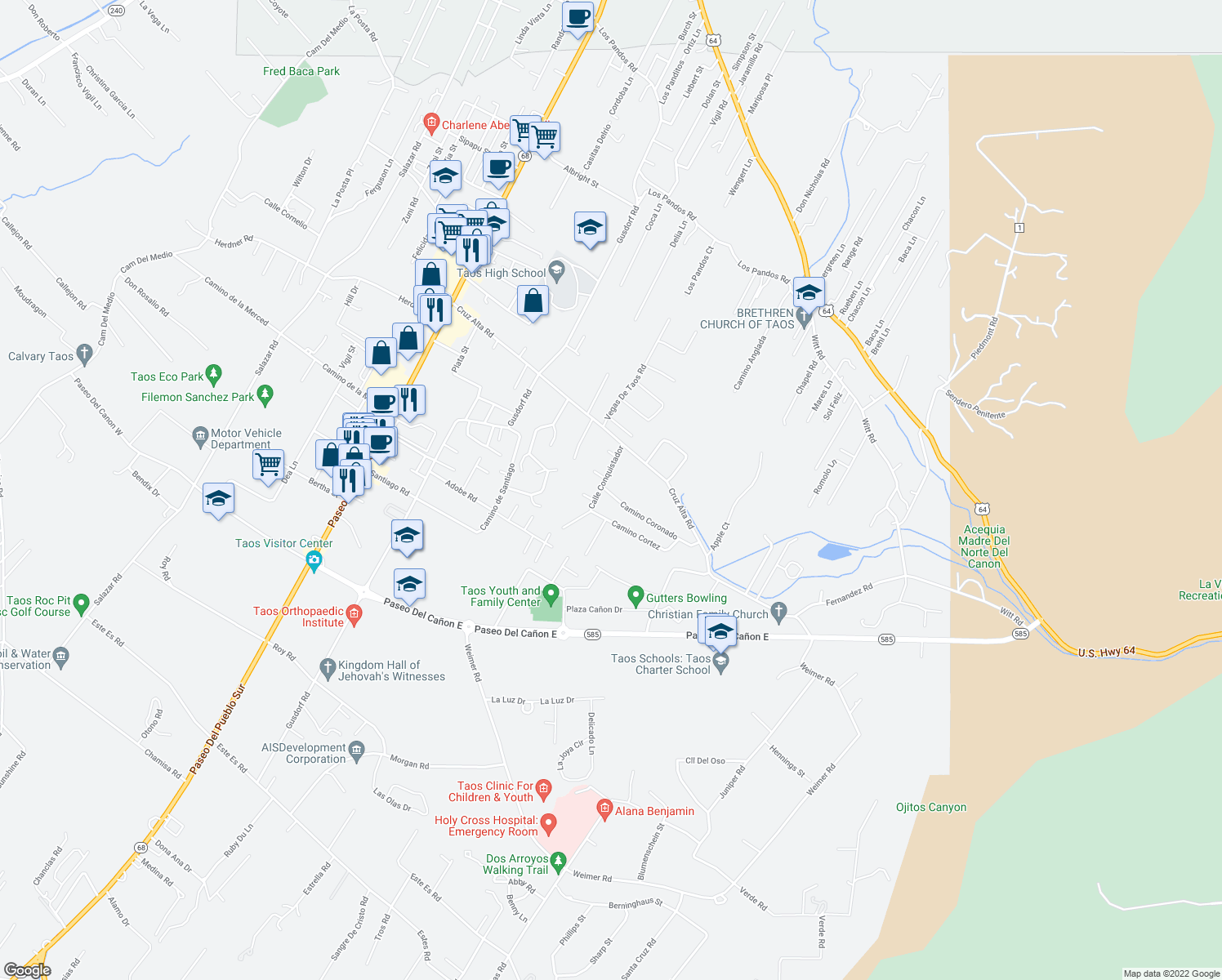 map of restaurants, bars, coffee shops, grocery stores, and more near 503 Camino Coronado in Taos