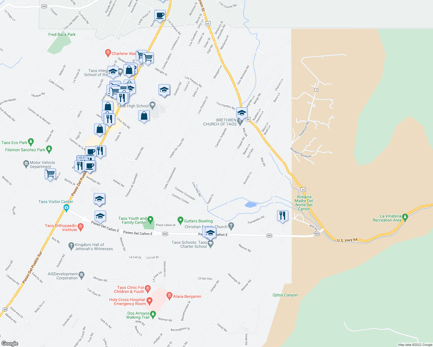 map of restaurants, bars, coffee shops, grocery stores, and more near 101-113 Des Georges Place in Taos