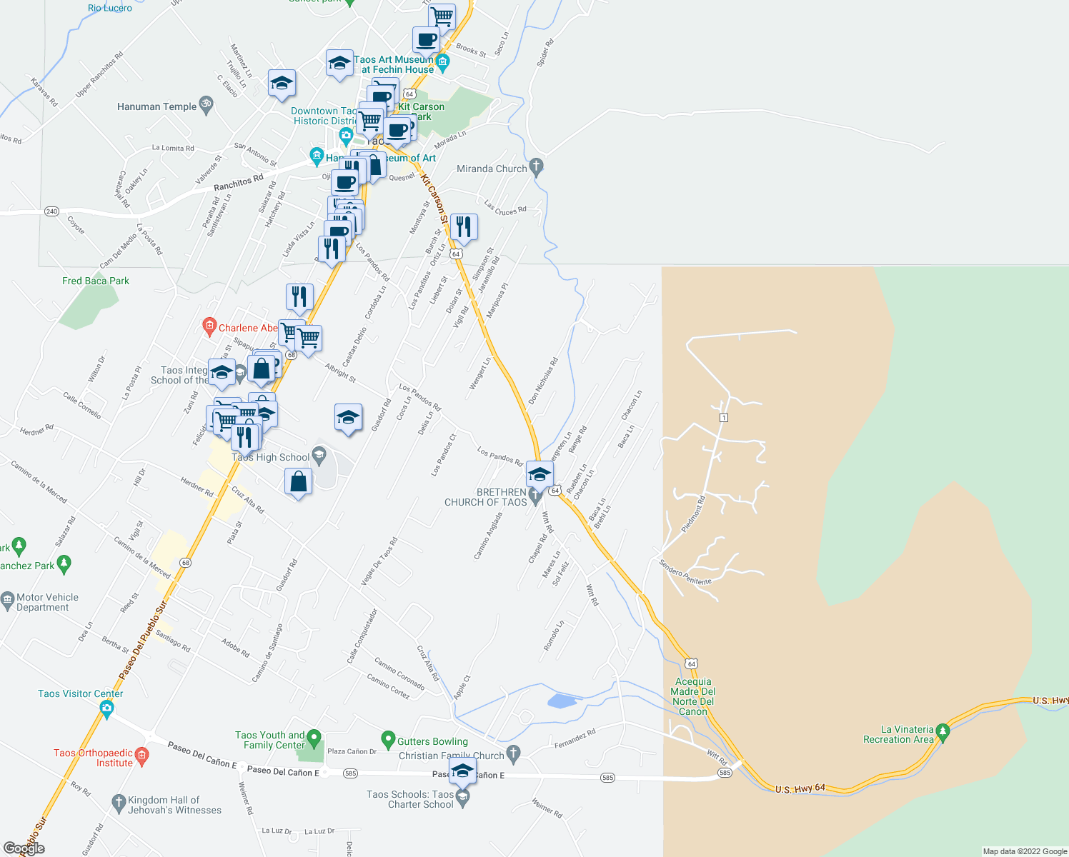 map of restaurants, bars, coffee shops, grocery stores, and more near 941 Kit Carson Road in Taos