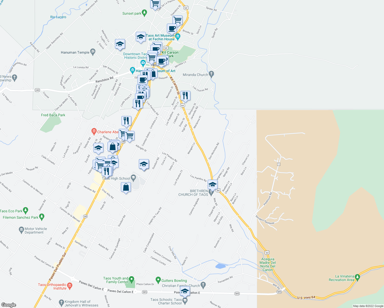 map of restaurants, bars, coffee shops, grocery stores, and more near 630 Dolores Road in Taos