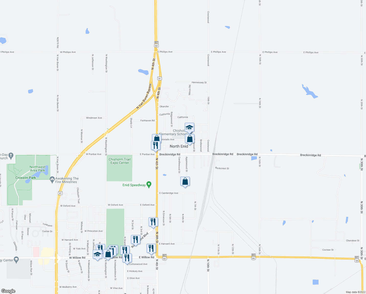 map of restaurants, bars, coffee shops, grocery stores, and more near Kansas Avenue in North Enid