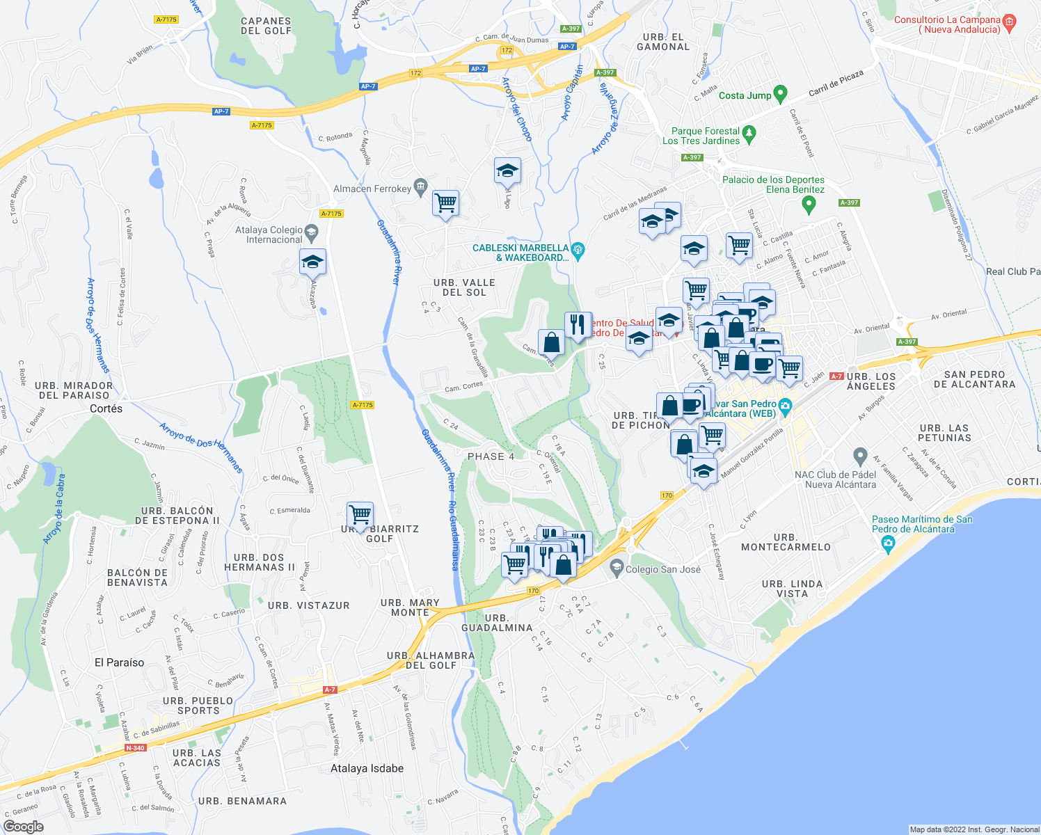 map of restaurants, bars, coffee shops, grocery stores, and more near 760 Urbanización Guadalmina Alta in Marbella