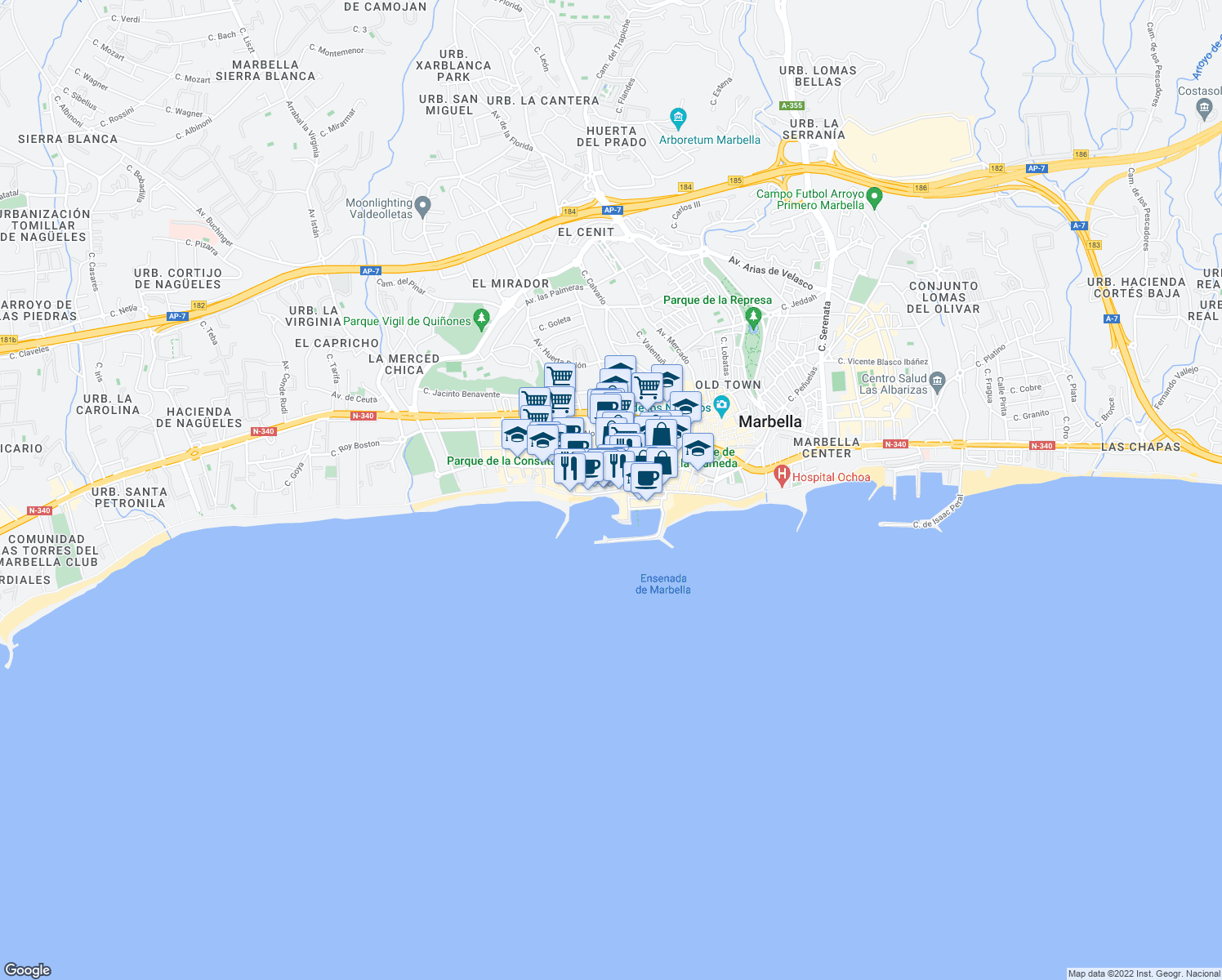 map of restaurants, bars, coffee shops, grocery stores, and more near 14 Avenida Duque de Ahumada in Marbella