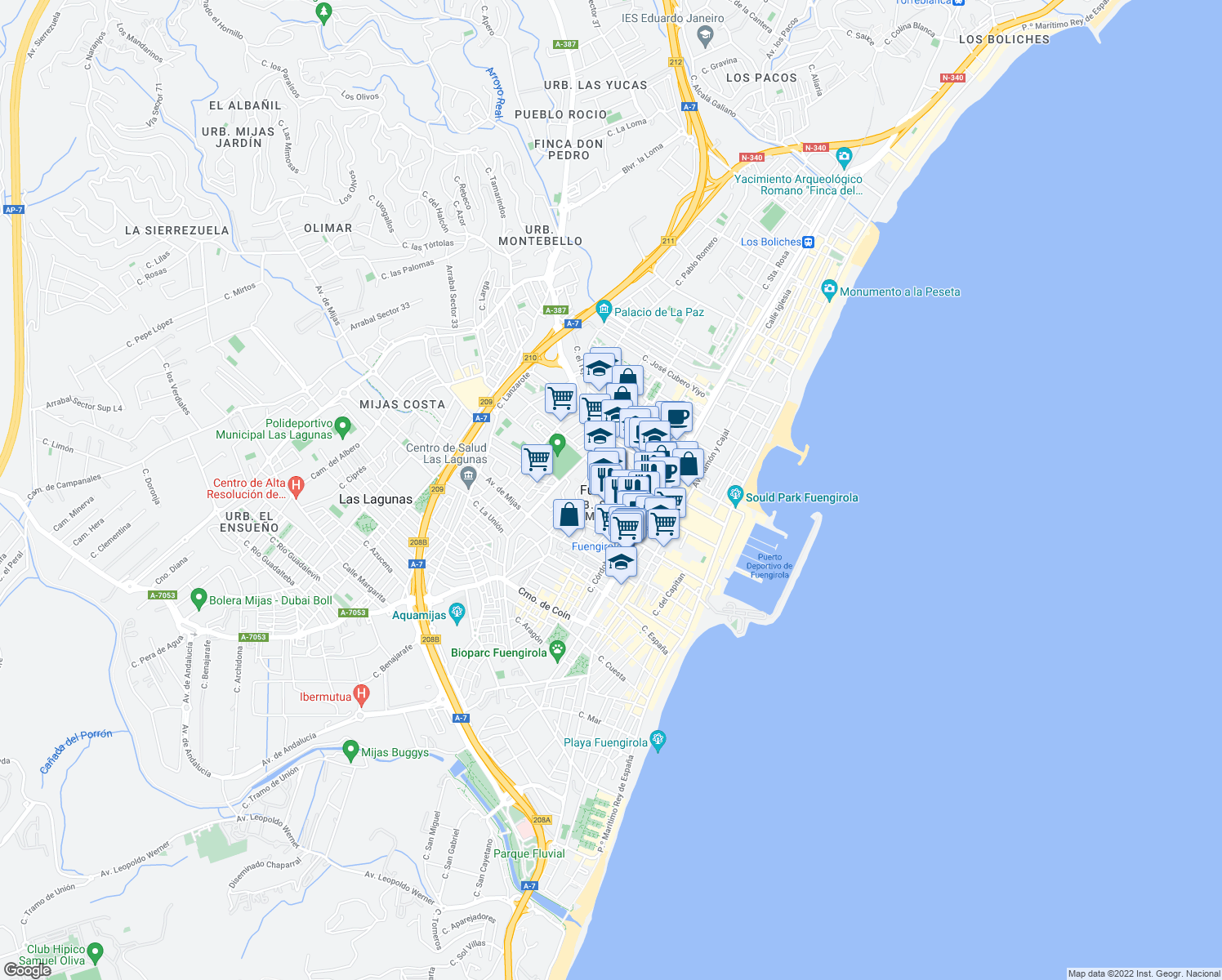 map of restaurants, bars, coffee shops, grocery stores, and more near in Fuengirola