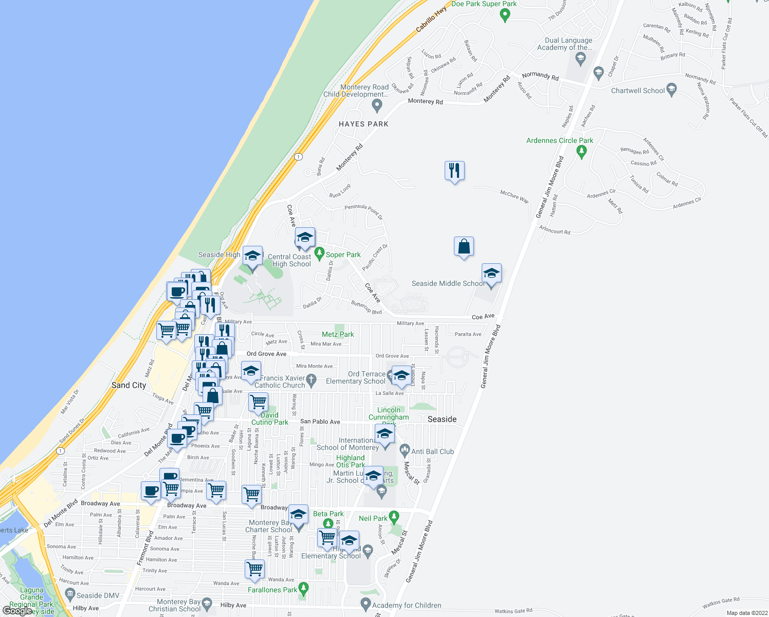 map of restaurants, bars, coffee shops, grocery stores, and more near in Seaside