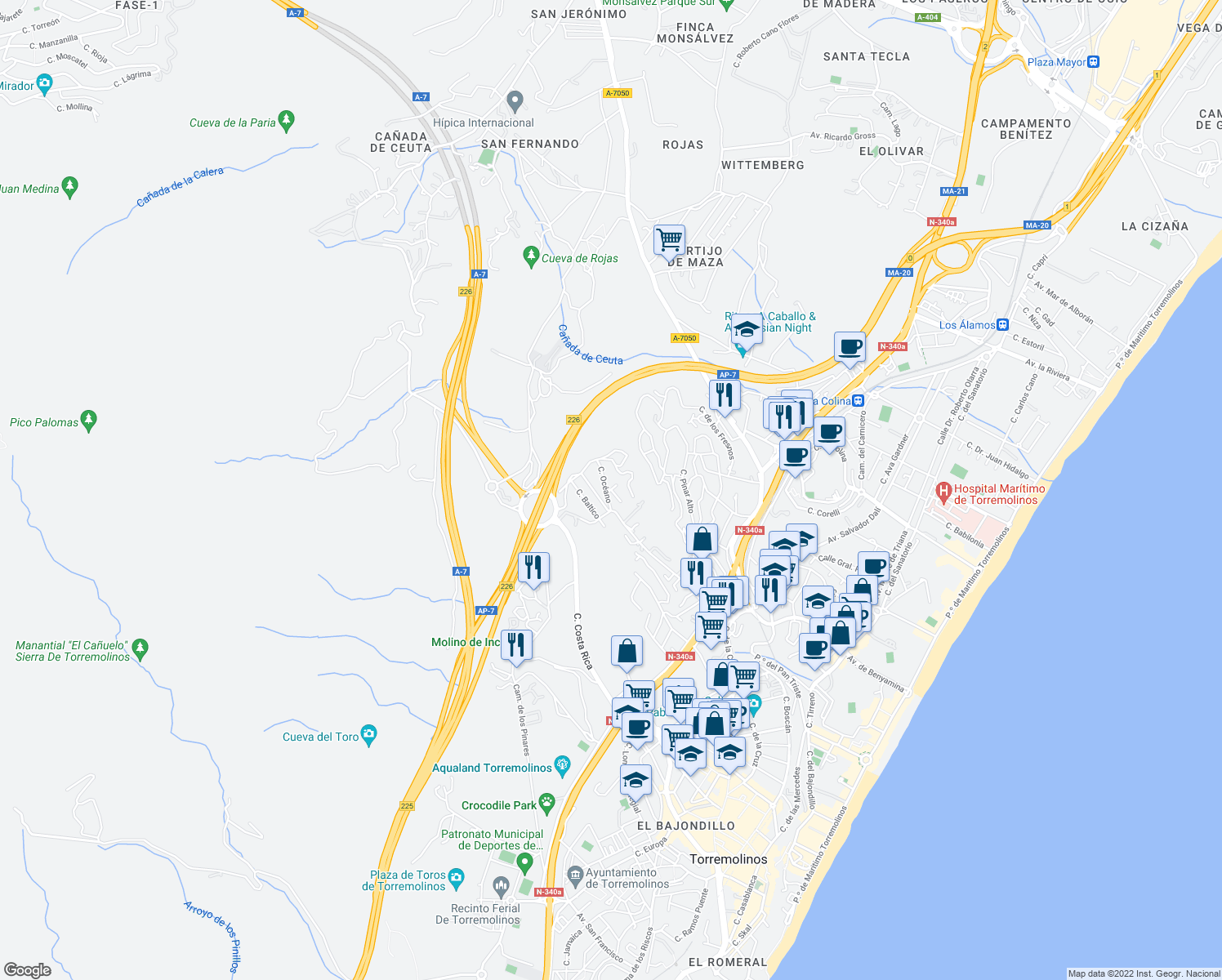 map of restaurants, bars, coffee shops, grocery stores, and more near 13A Calle las Velas in Torremolinos