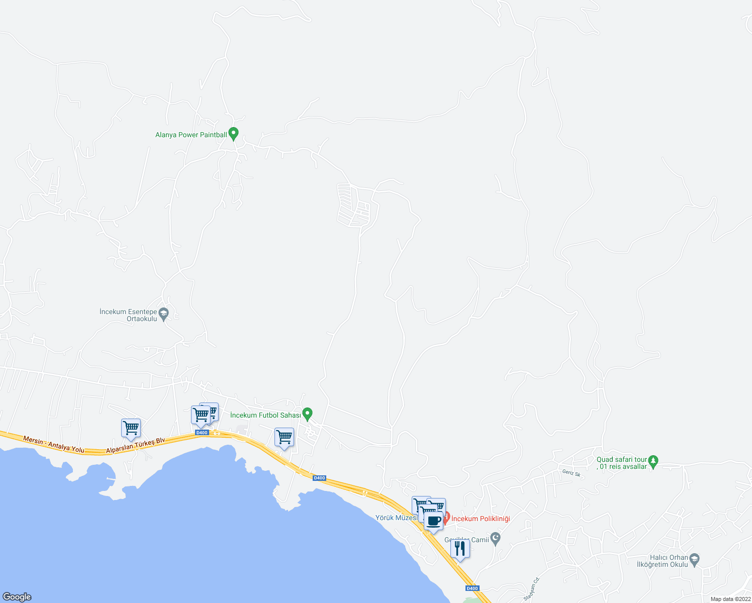 map of restaurants, bars, coffee shops, grocery stores, and more near Unnamed Road in Alanya