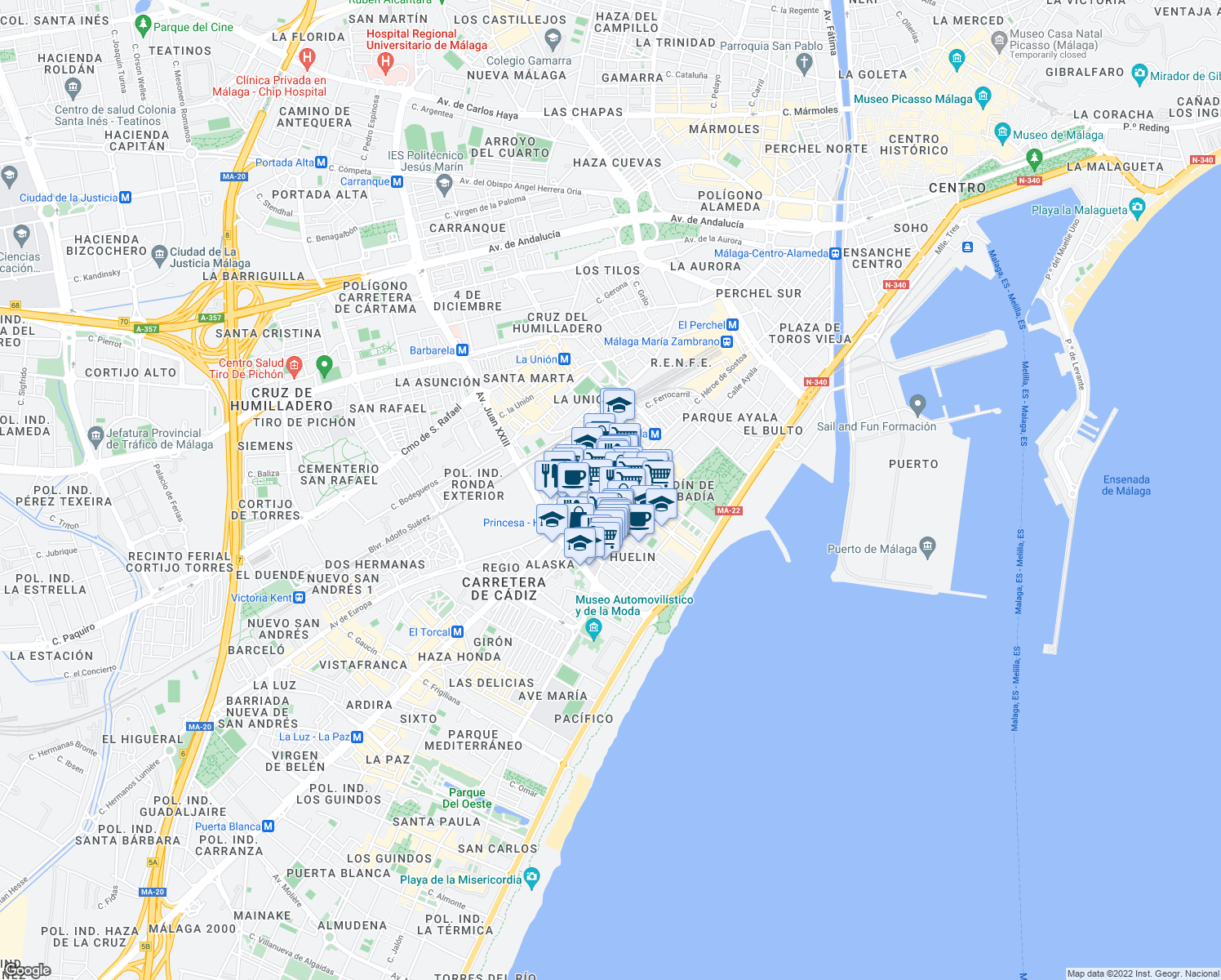 map of restaurants, bars, coffee shops, grocery stores, and more near 97 Calle Héroe de Sostoa in Málaga