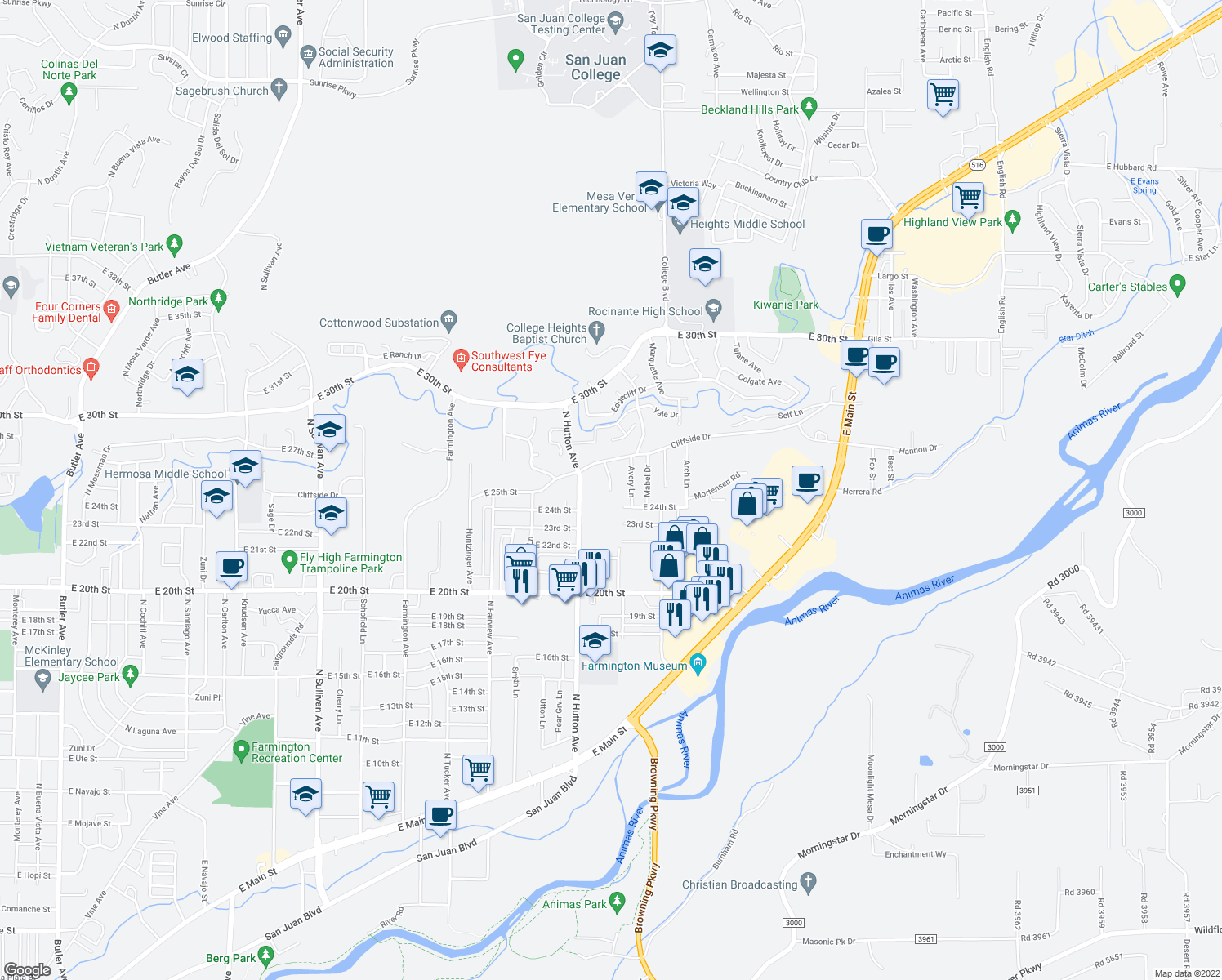 map of restaurants, bars, coffee shops, grocery stores, and more near 2511 North Lee Avenue in Farmington