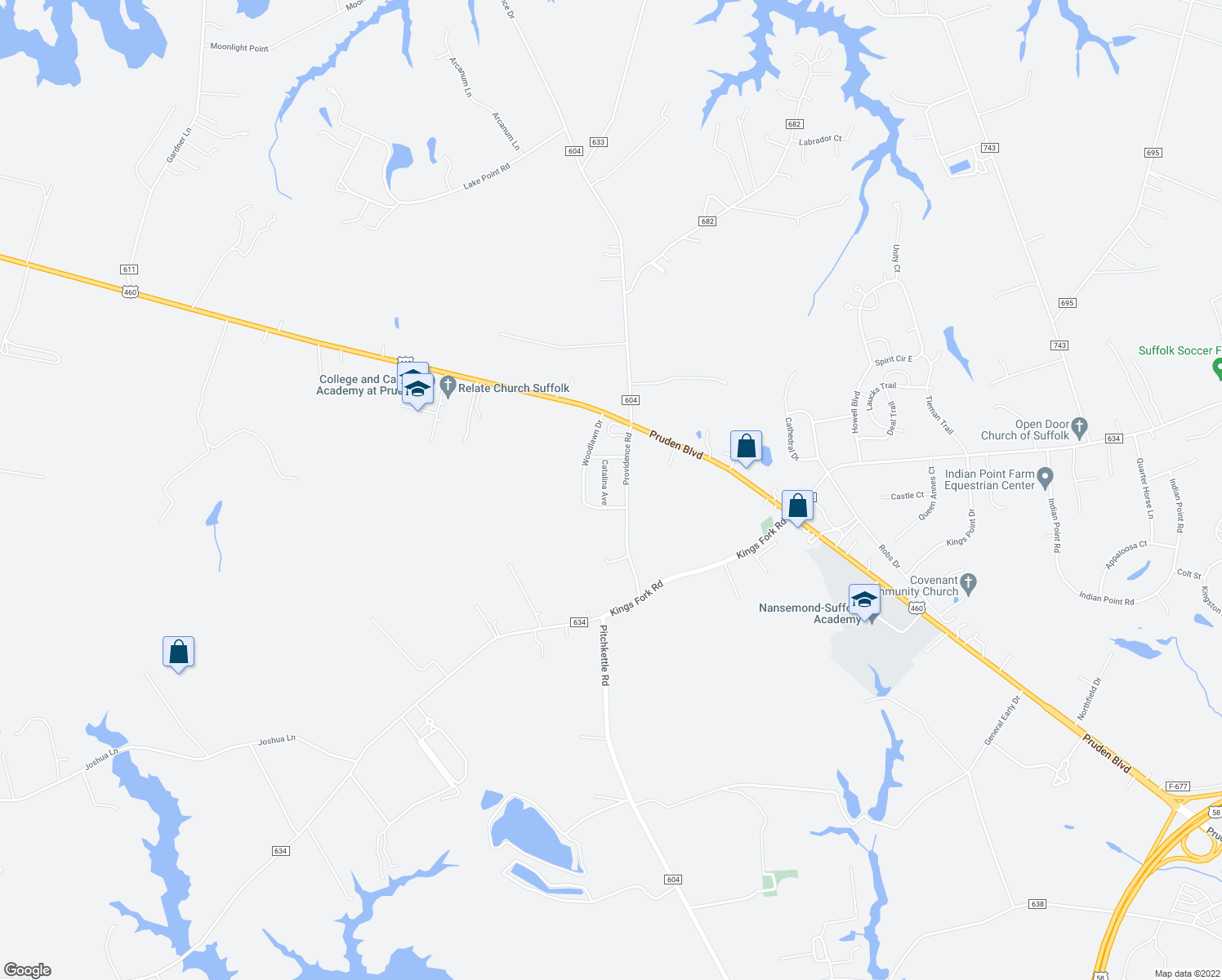 map of restaurants, bars, coffee shops, grocery stores, and more near 3017 Providence Road in Suffolk