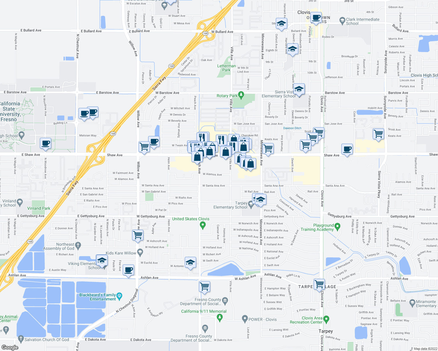 map of restaurants, bars, coffee shops, grocery stores, and more near 280 West Alamos Avenue in Clovis