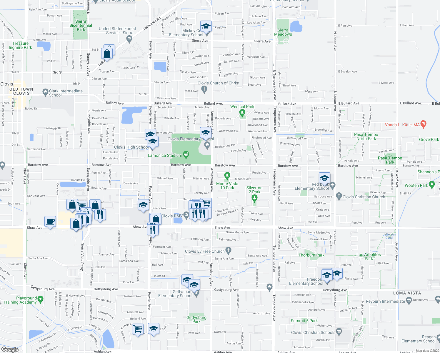 map of restaurants, bars, coffee shops, grocery stores, and more near 2275 Mitchell Avenue in Clovis