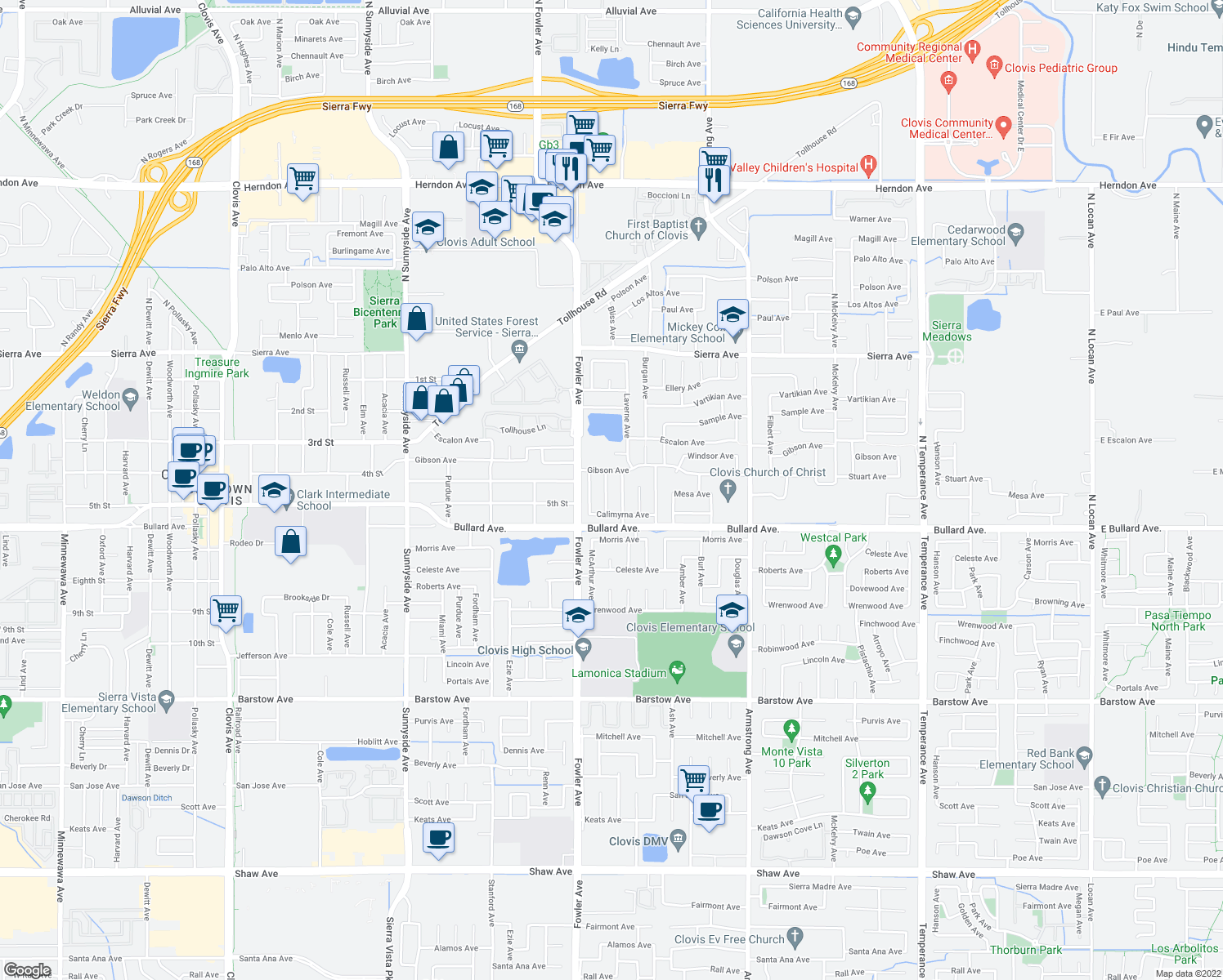 map of restaurants, bars, coffee shops, grocery stores, and more near 413 Whittier Avenue in Clovis