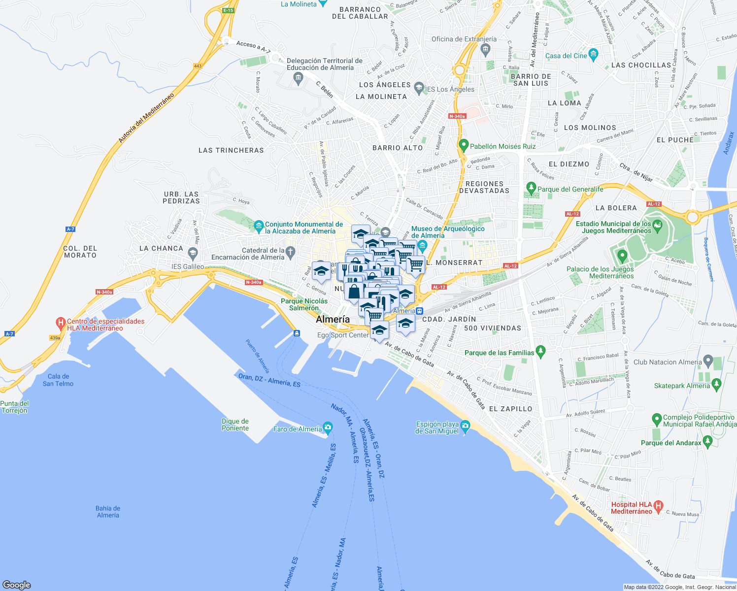 map of restaurants, bars, coffee shops, grocery stores, and more near Calle Hermanos Machado in Almeria