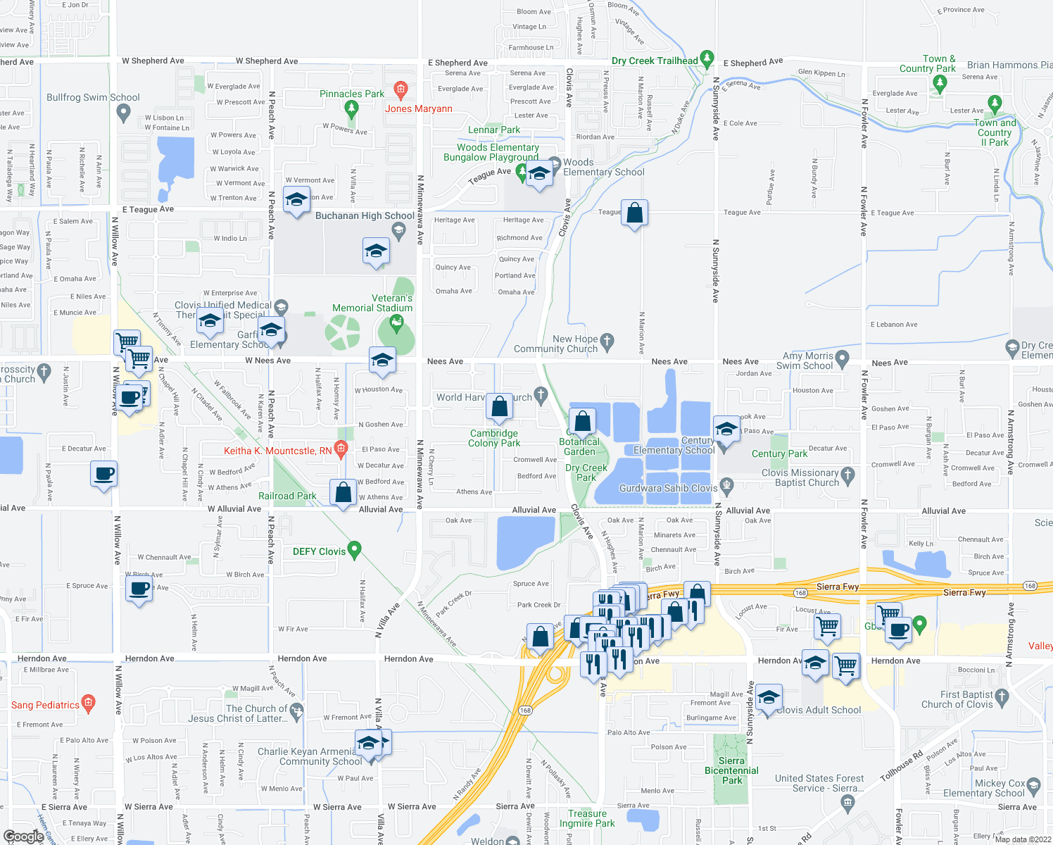 map of restaurants, bars, coffee shops, grocery stores, and more near 624 Fallbrook Ave in Clovis