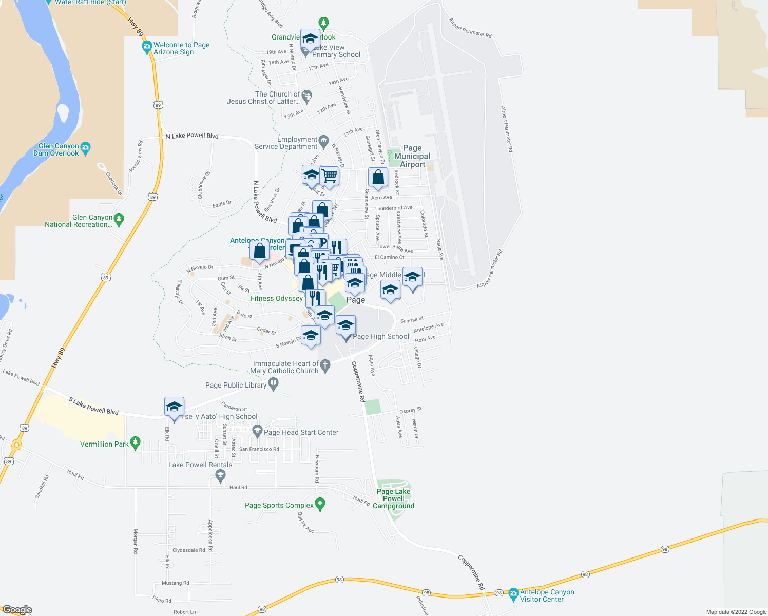 map of restaurants, bars, coffee shops, grocery stores, and more near 289 South Lake Powell Boulevard in Page