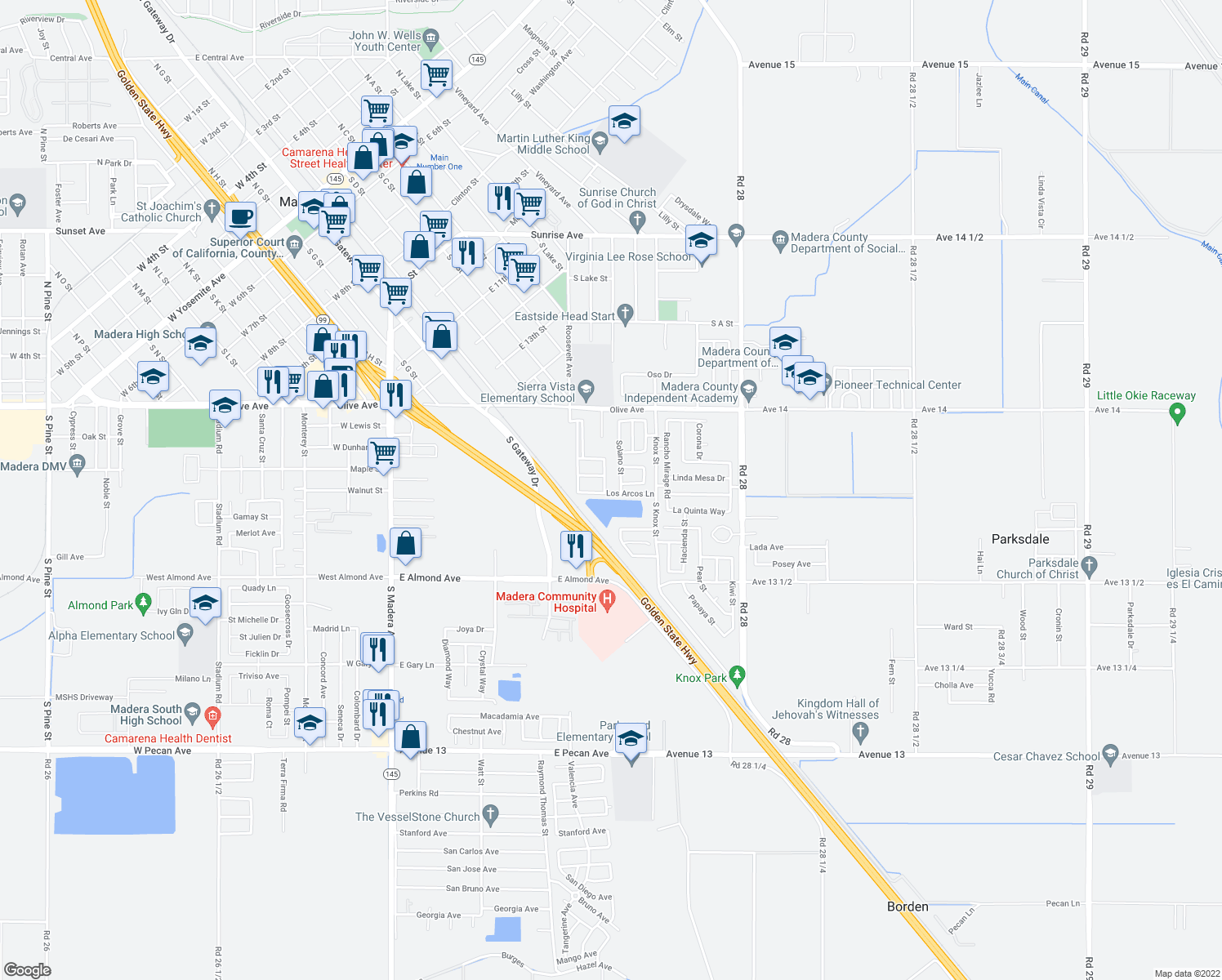 map of restaurants, bars, coffee shops, grocery stores, and more near 2069 Las Fresas Way in Madera