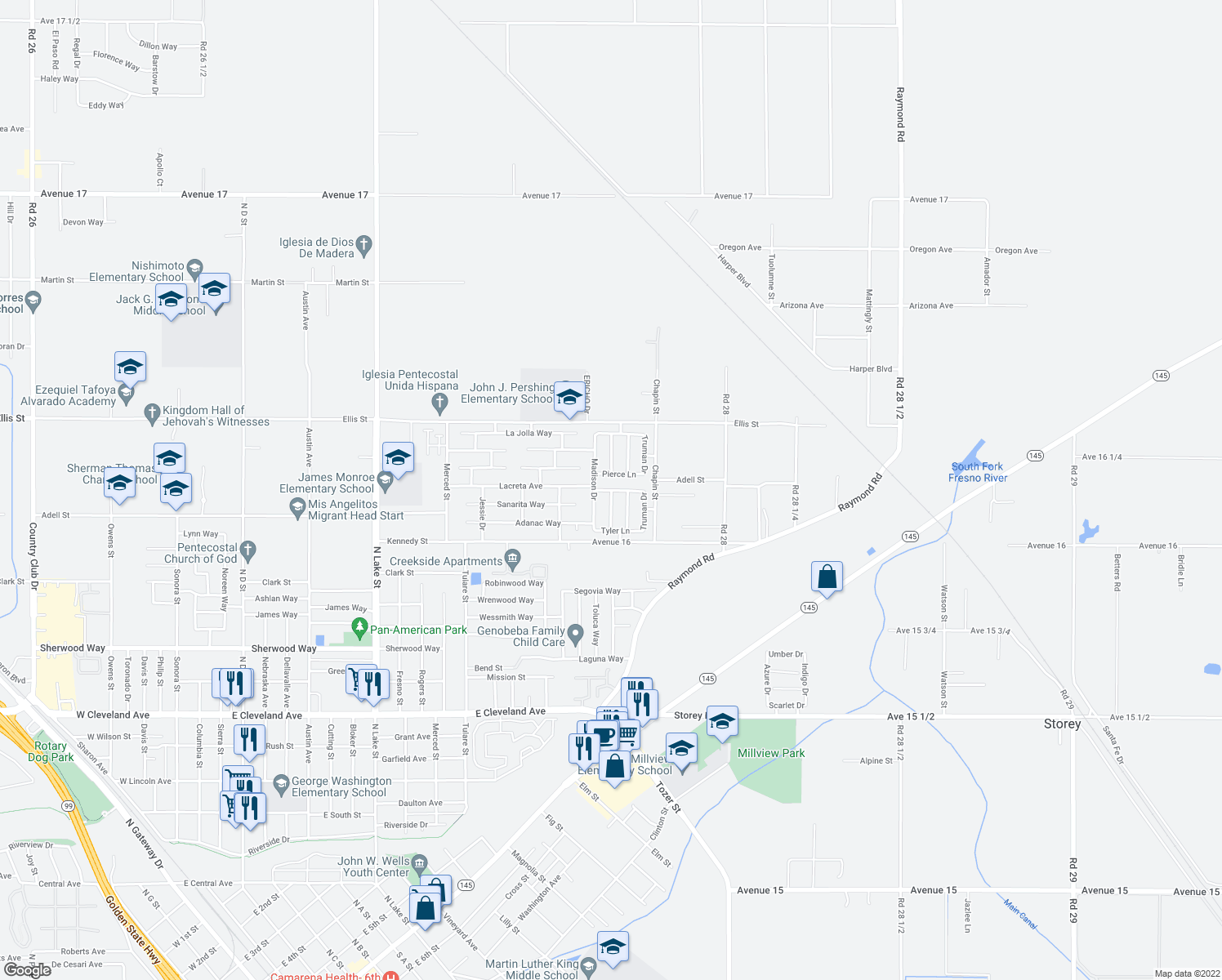 map of restaurants, bars, coffee shops, grocery stores, and more near Monroe Avenue in Madera