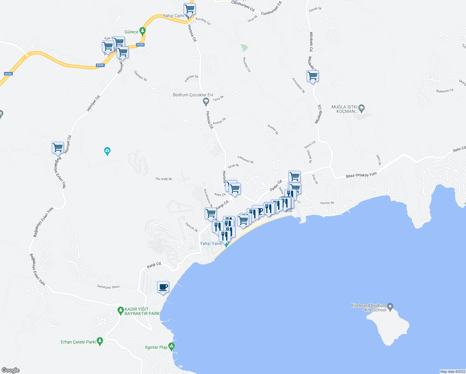 map of restaurants, bars, coffee shops, grocery stores, and more near 43 Hortma Caddesi in Bodrum