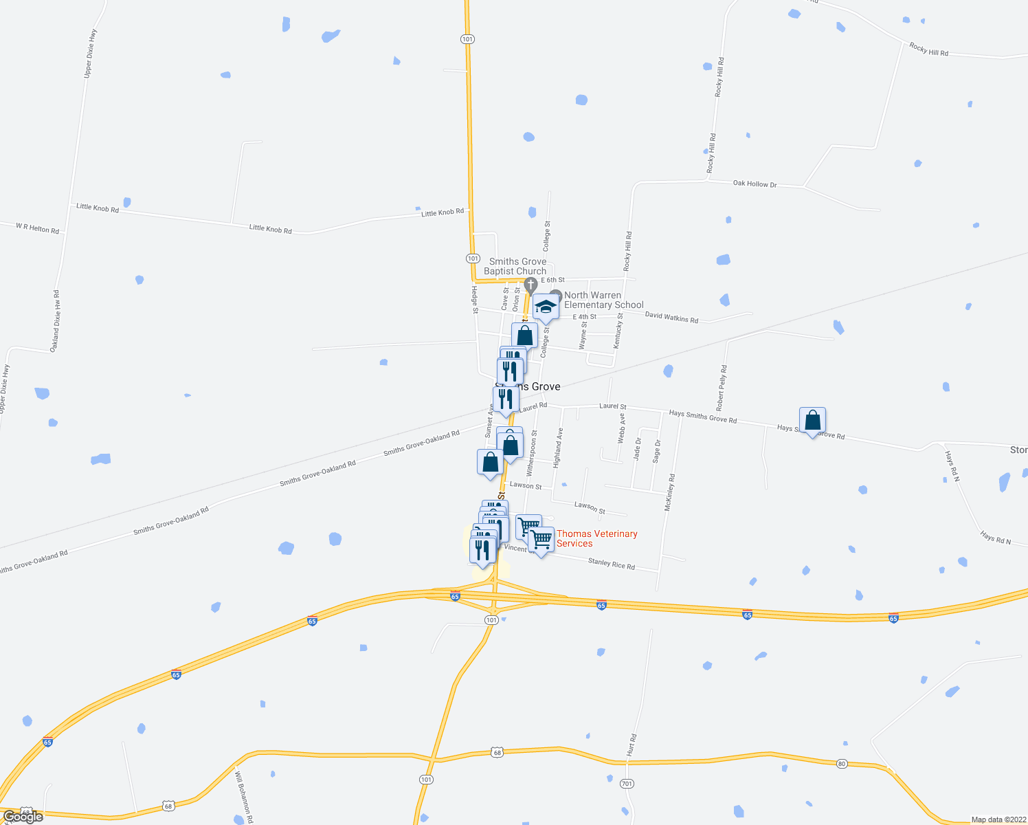 map of restaurants, bars, coffee shops, grocery stores, and more near 101-199 Laurel Road in Smiths Grove