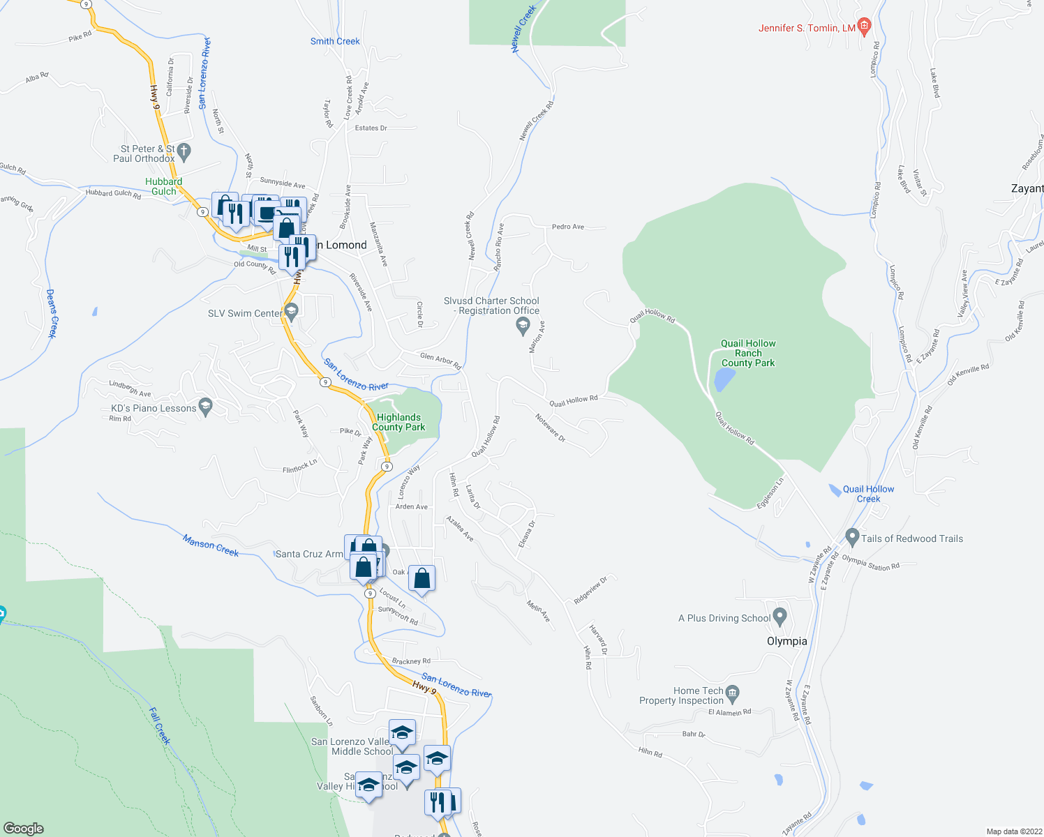 map of restaurants, bars, coffee shops, grocery stores, and more near 801 Noteware Drive in Ben Lomond
