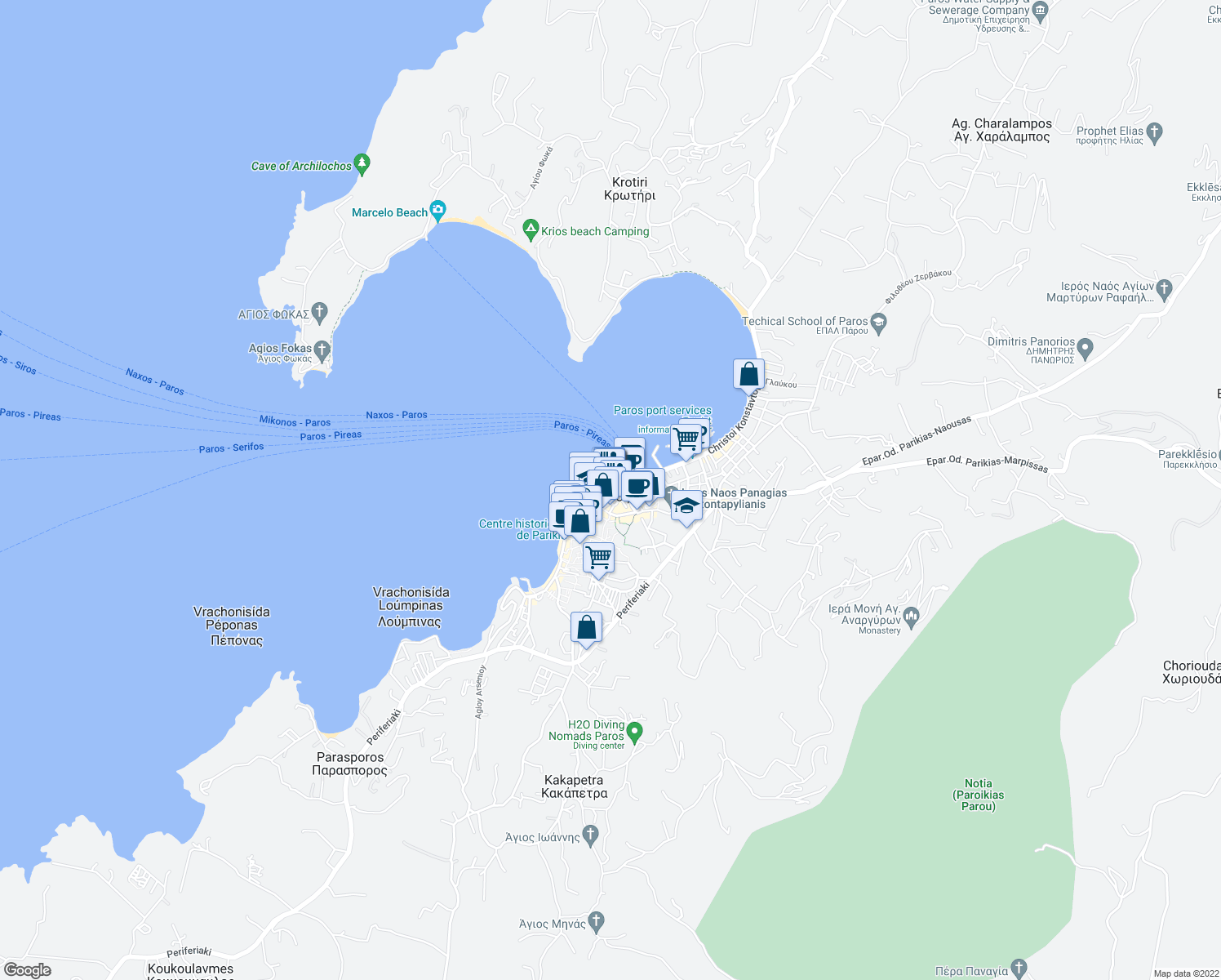 map of restaurants, bars, coffee shops, grocery stores, and more near in Southern Aegean