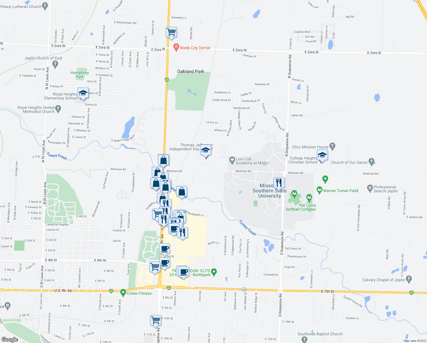 map of restaurants, bars, coffee shops, grocery stores, and more near 3520 Newman Road in Joplin
