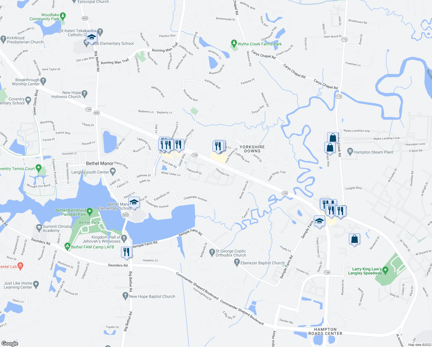 map of restaurants, bars, coffee shops, grocery stores, and more near 100 Indian Summer Drive in Yorktown