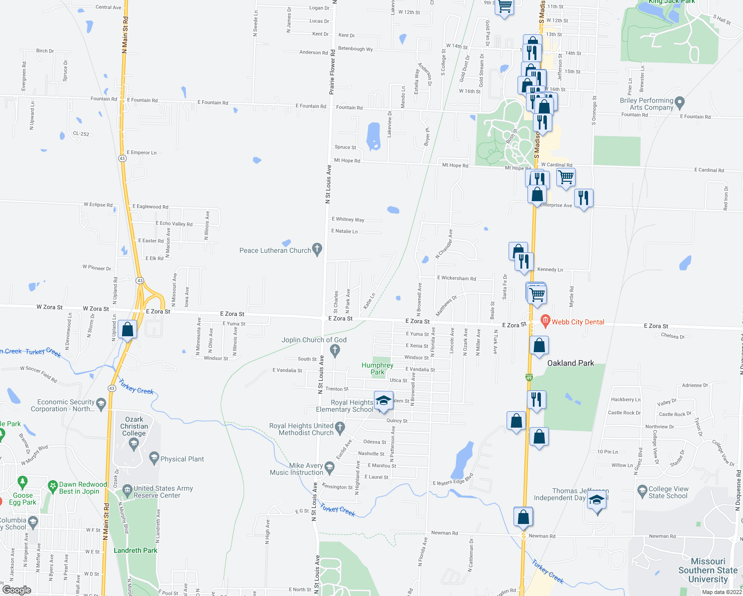 map of restaurants, bars, coffee shops, grocery stores, and more near 2813 Katie Ln in Joplin
