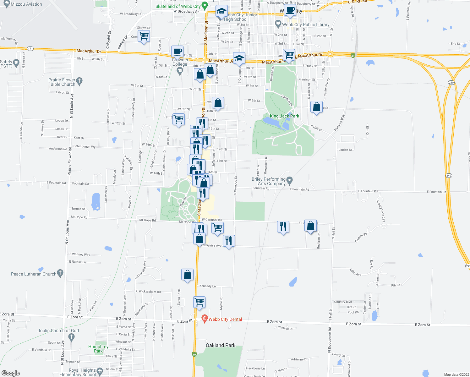 map of restaurants, bars, coffee shops, grocery stores, and more near 1815 South Oronogo Street in Webb City