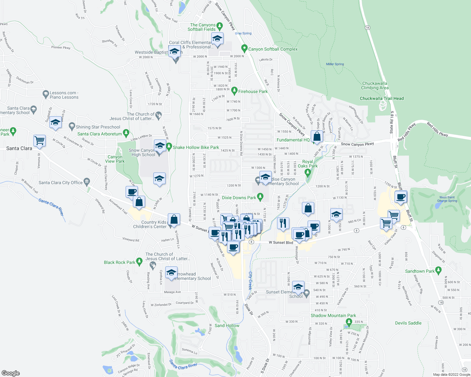 map of restaurants, bars, coffee shops, grocery stores, and more near 1905 West 1200 North in St. George