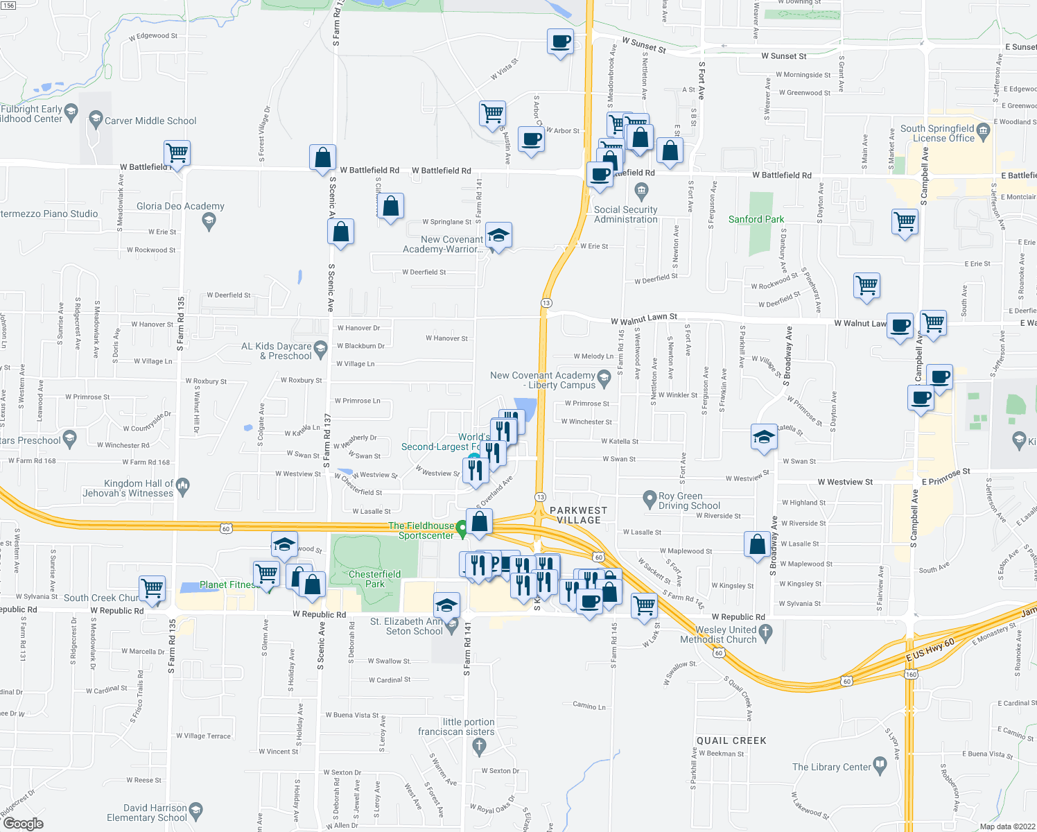 map of restaurants, bars, coffee shops, grocery stores, and more near 3660 S Cox Ave in Springfield